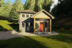 Cottage Plan: 793 Square Feet, 1-2 Bedrooms, 1 Bathroom - 286-00090 Guest House Plans, Small Cottage House Plans, Small Cottage Homes, Small House Floor Plans, Cottage Floor Plans, Cottage Plan, Tiny House Cabin, Cabin Plans, Tiny Houses