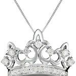 10k White Gold Diamond Crown Pendant Necklace (1/4 cttw, I-J Color, I2-I3 Clarity), 18″