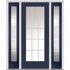 Milliken Millwork 64.5 in. x 81.75 in. Classic Clear Glass GBG Full Lite Painted Majestic Steel Exterior Door with Sidelites, Naval