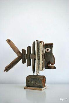 Driftwood / reclaimed wood fish sculpture