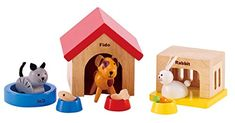 Furry friends make a dollhouse feel more like home Featuring a dog, cat, and bunny along with accessories Encourage your child to imagine storylines for their furry friends. - Toys 4 My Kids