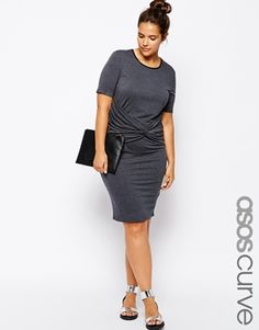 Image 1 of ASOS CURVE Exclusive Body-Conscious Dress With Ruched Front In Longer Length