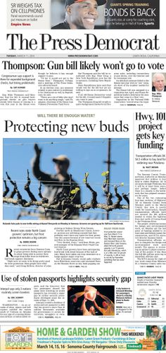 Press Democrat front page from Tuesday, March 11, 2014