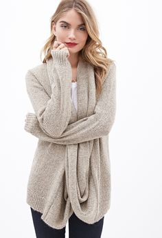 Draped Attached-Scarf Cardigan - Sweatshirts & Knits - 2000101612 - Forever 21 EU