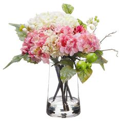 Faux hydrangea arrangement in a glass vase with faux water.  Product: Faux floral arrangementConstruction Material: G...
