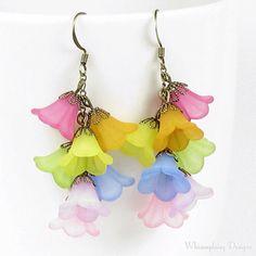 Spring colored Flower Bell Earrings