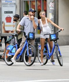Leonardo DiCaprio and Kelly Rohrbach Riding Bikes PDA | POPSUGAR Celebrity