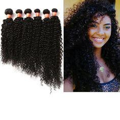 "US Ship 2/3Bundles 16""-20"" Human Hair Extension 50g/Bundle Curly Wave Black 7A  #wigiss #HairExtension"
