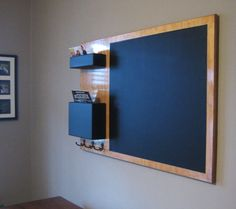 Stained Mail Organizer chalkboard Medium wall mounted pockets and hooks via Etsy