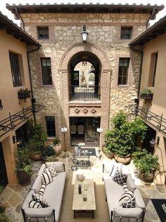 Courtyard, Italian villa style home.