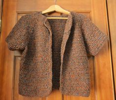 Crochet Short-Sleeved Jacket in Colorful Brown by HermitsOfAfton