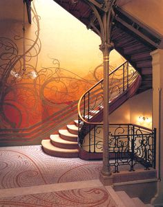 Hôtel Tassel, grand hall du bel étage, Bruxelles, 1893. Art Nouveau style by Victor Horta.