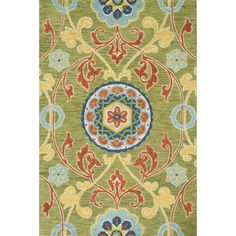 Hand-hooked Meadow Lime/ Multi Wool Rug (5'0 x 7'6) - Overstock™ Shopping - Great Deals on Alexander Home 5x8 - 6x9 Rugs