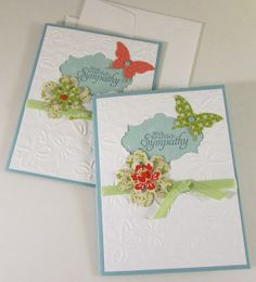 Butterfly Sympathy Cards set of 2 hand stamped 3d floral card Stampin Up #101 on Etsy, $7.00