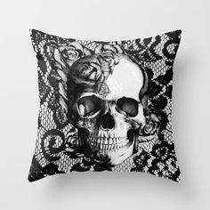 Rose+skull+on+black+lace+base.+Throw+Pillow+by+Kristy+Patterson+Design+-+$20.00
