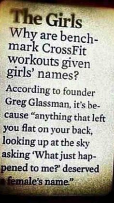 Why are bench-mark Crossfit workouts given girls names?