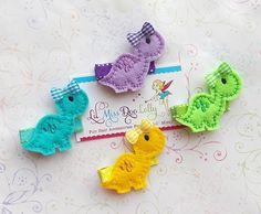 Embroidered Felt Hair Clippie- Dinosaur Hair Clippie- Dino Hair Clippie- Girly Dinosaur Feltie Barrette-Birthday Party Favors (Set of 1) on Etsy, $3.05 AUD