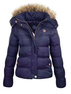 e2064e11105a M1427 New Womens Ladies Quilted Winter Coat Puffer Fur Collar Hooded Jacket  Parka Size HOPPJKT (