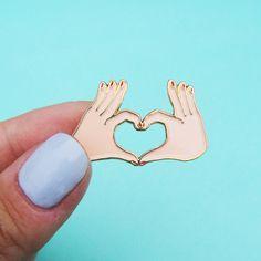 LOVE pin Heart lapel pin Hand enamel pin Tiny by CoucouSuzette