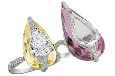 BOGH-ART New Kissing rings with kunzine and yellow sapphire