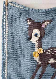 Hello Deer Baby Blanket amigurumi crochet pattern by Little Doolally Crochet Blanket Patterns, Baby Blanket Crochet, Crochet Baby, Crochet Blankets, Crochet Deer, Christmas Knitting Patterns, Manta Crochet, Baby Afghans, Baby Deer