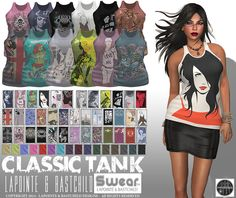 "WOMENS L&B S'Wear ""Classic"" Tank Top Set w/ HUD (Rigged Mesh Clothing in 8 sizes)"