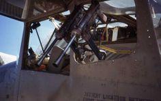 "Two M3 ""grease guns"" mounted to a Cessna O-1 Bird Dog."