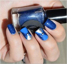 thepolishedperfectionist:  Cirque Lapis with taped triangles and...