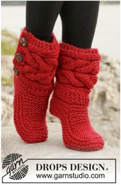 Knitted slipper boots!
