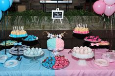 Gender reveal dessert table this reminds me of the rugrats movie Gender Reveal Food, Simple Gender Reveal, Baby Gender Reveal Party, Gender Party, Gender Reveal Party Decorations, Dessert Table, Diy, Shower Games, Body Art
