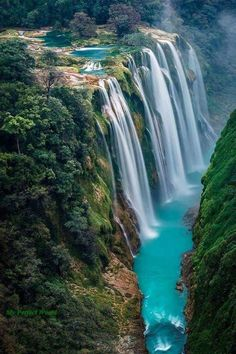 These may be the waterfalls at San Louis Potosi, Mexico. Not sure, but beautiful!