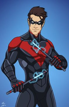 Nightwing edit) 04 by phil-cho on DeviantArt Marvel Dc Comics, Films Marvel, Dc Comics Art, Superhero Characters, Dc Comics Characters, Comic Kunst, Comic Art, Teen Titans, Richard Grayson