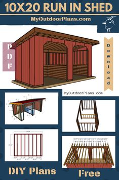 This step by step diy project is about free run in shed plans with drawings. This is a relatively large run in shed that can be built on a budget, using basic materials and tools. The roof has a pitch and features a large opening, for easy access. Lean To Shelter, Goat Shelter, Horse Shelter, Shed With Porch, Run In Shed, Lean To Shed Plans, Horse Shed, Horse Barn Plans, Horse Barns