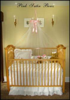 Bed Canopy Crib Princess Fairy Ring With Pink Bows FrEe TIARA CROWN
