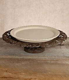 The Gerson GG Collection Gracious Goods Pedestal Serving Platter with Ceramic Plate is a dramatic flourish of rustic, Old-World elegance, an. Tuscan Furniture, Glass Beverage Dispenser, World Decor, Ceramic Plates, Serving Platters, Pedestal, Stoneware, Unique Gifts, Bronze