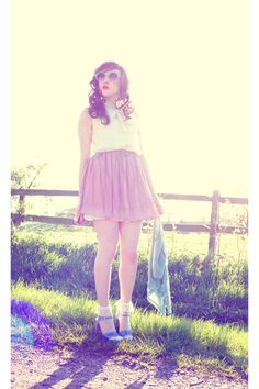 Thin white frilly ankle socks, blue heels sandals, short clear pink skirt, white vintage blouse