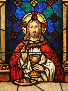 Jesus depicted at the Last Supper in a stained glass image at St. John the Evanglist Church in Howard. Image Jesus, Jesus Christ Images, Jesus Art, Stained Glass Church, Stained Glass Art, Stained Glass Windows, Catholic Art, Religious Art, Religion
