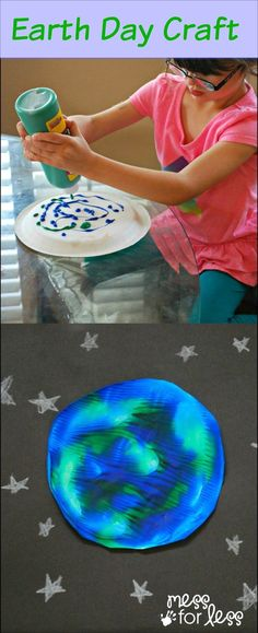 Earth Day Activity - using paint and a plate, kids create beautiful one of a kind earth prints.
