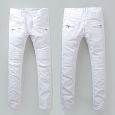 Men's France Moto Pants Distressed White Biker Jeans Slim Fit Trousers B942C