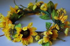 Yellow Sunflower Faux Flower Crown Wreath by OXOCult on Etsy, $20.00 Sample-only 1 avail