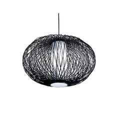 Bazz Modern Pendant Light with White Shade in Rattan Rods Finish LU8025