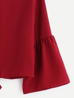 Bell Sleeve Overlap Back Tie Detail Blouse -SheIn(Sheinside) Couture, Tie Backs, Diana, Bell Sleeves, Burgundy, Women Wear, Detail, Skirts, How To Wear