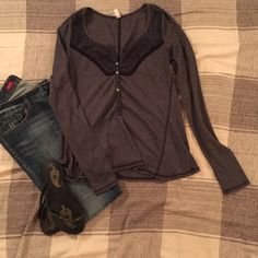Free People Long Sleeve Shirt This cute top is simple enough to be casual but also has beautiful details and design! Very soft and lightweight material, brand new. Material can stretch a bit, definitely fits medium too. Free People Tops Tees - Long Sleeve