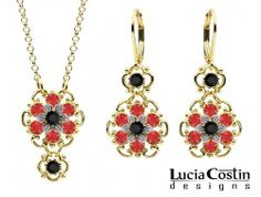 Jewelry Set: Pendant and Earrings Designed by Lucia Costin with Black and Red Swarovski Crystals, Adorned with Twisted Lines; .925 Sterling Silver with 24K Yellow Gold over .925 Sterling Silver; Handmade in USA Lucia Costin. $118.00. A perfect feminine touch. Handmade in USA unique jewelry set. Style takes wings in this lovely jewelry set that have a graceful flower shape. Enhanced with black and light - siam Swarovski crystals. Lucia Costin delicate set of jewelry