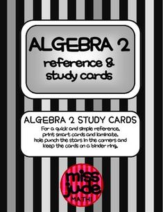 Algebra 2 Printable Test Review & Study Reference Resource cards
