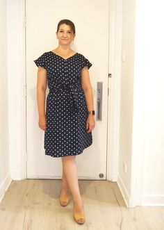 Vogue 1395 Rebecca Taylor navy and white polka dot dress | Allison C Sewing Gallery