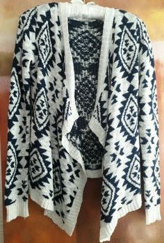 NATIVE AZTEC BOHO PEASANT OPEN FRONT KNIT CARDIGAN ASYMMETRIC NAVY WHITE SWEATER #CharlotteRusse #Cardigan