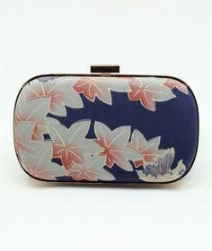 Kimono Box Clutch / Navy Clutch / Vintage Silk