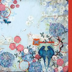 "Kathe Fraga paintings, www.kathefraga.com Inspired by the romance of vintage French wallpapers and Chinoiserie with a modern twist. ""Forever"", 36x48 on frescoed birch panel, copyright 2016."
