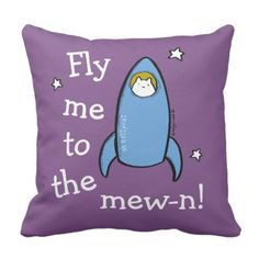 Personalized Kitty Cat Space Rocket Adventures. Throw Pillow - decor gifts diy home & living cyo giftidea